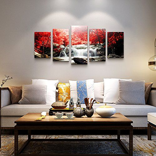 Amazon Com Youkuart Canvas Wall Art 5 Piece Red Woods Waterfall Canvas Print Paintings For Wall And Home Decor Pos Frame Wall Decor Home Decor Frames On Wall Amazon paintings for living room