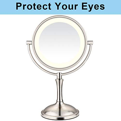 Amnoamno Led Makeup Mirror 10x Magnifying 7 8 Double Sided Lighted Vanity Makeup Mirror With In 2020 Led Makeup Mirror Makeup Mirror Adjustable Lighting