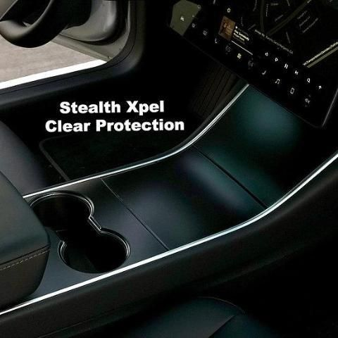 for Tesla Model 3 New Matte Black Console Vinyl Wrap Cup Top and Center PPF