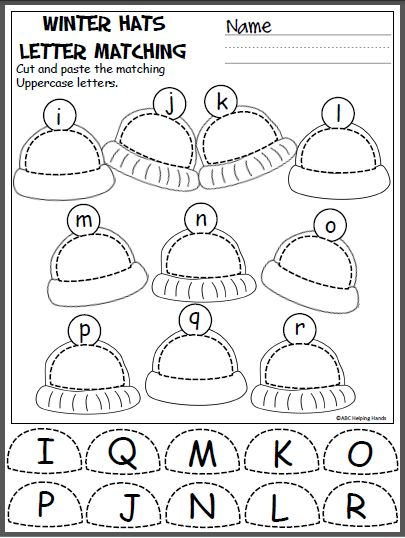 free winter uppercase and lowercase letters cut and paste activity great activity for pre k and. Black Bedroom Furniture Sets. Home Design Ideas