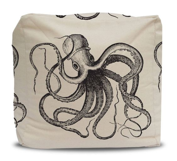 Pouf and Cover Vintage Ink Octopus on Cotton Duck by PCTextileCo #coastaldecor #octopuspillow #beachdecor