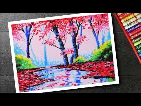 How To Draw Spring Season Landscape Drawing And Painting With Cherry Blossom Tree Step By Step Y Oil Pastel Landscape Oil Pastel Paintings Landscape Drawings