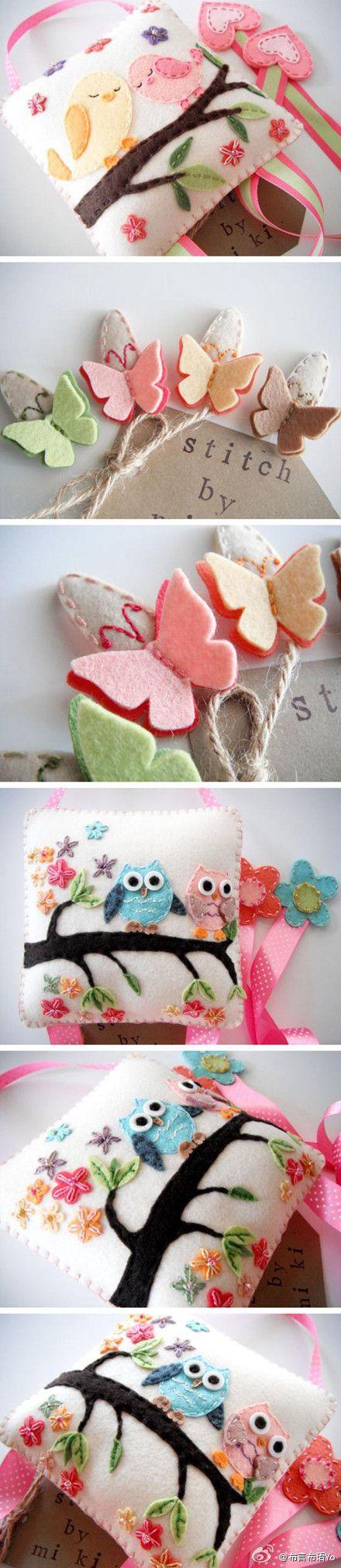 Mariposas de fieltro, cojin decorado con pájaros y búhos