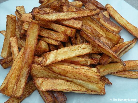 Make french fries at home on the stove top. Start in cold oil, no need to soak.