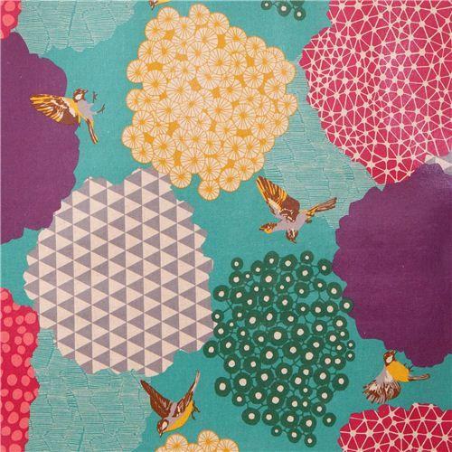 blue kalmia echino Canvas laminate fabric bird bush 4