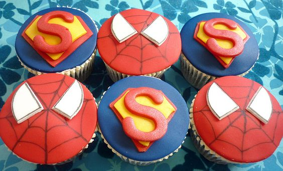 Spiderman and Superman cupcakes