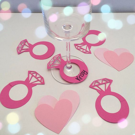 cute pink diamond ring drink markers