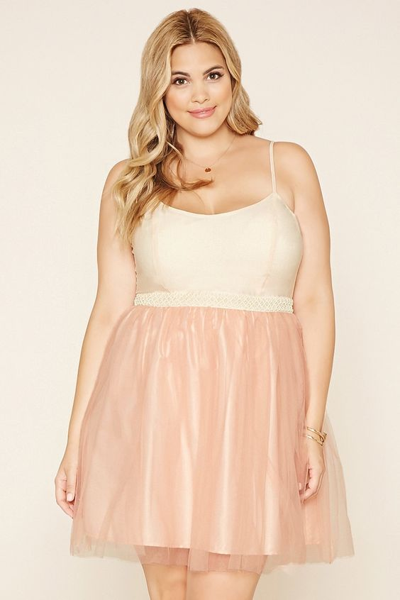 Forever 21+ - A cami combo dress featuring a woven bodice with adjustable cami straps, an invisible side zipper, a beaded waist, and a tulle skirt.