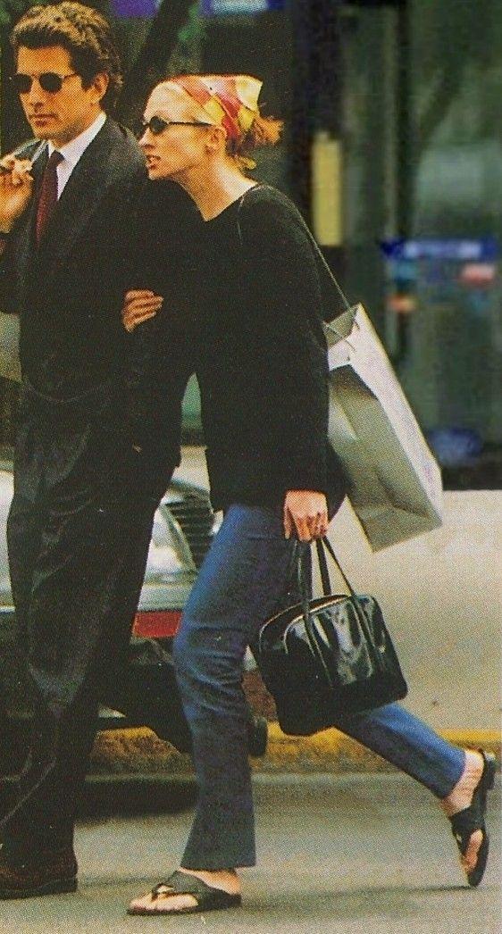John F. Kennedy Jr. with Caroline Bessette Kennedy in Boston, 1996.