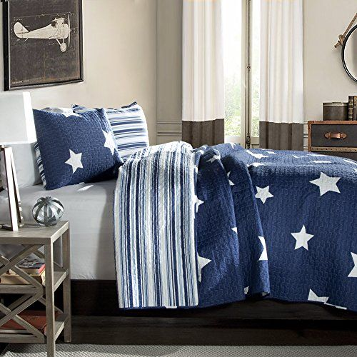 Star 3pc Navy Quilt King
