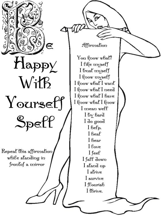 Book of Shadows:  Be Happy With Yourself Spell.