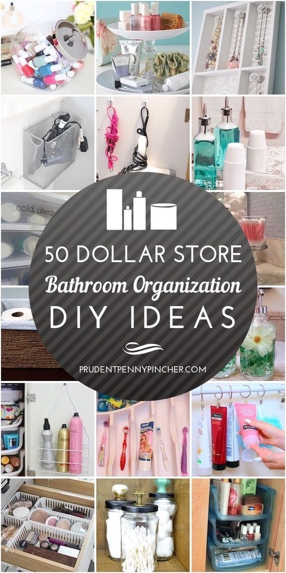 Organize your bathroom for less with these dollar store bathroom organization ideas.