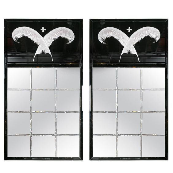 Pair of Monumental Art Deco Style Mirrors | From a unique collection of antique and modern wall mirrors at http://www.1stdibs.com/furniture/mirrors/wall-mirrors/