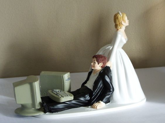 Bride Dragging The Groom Comedy Cake Topper