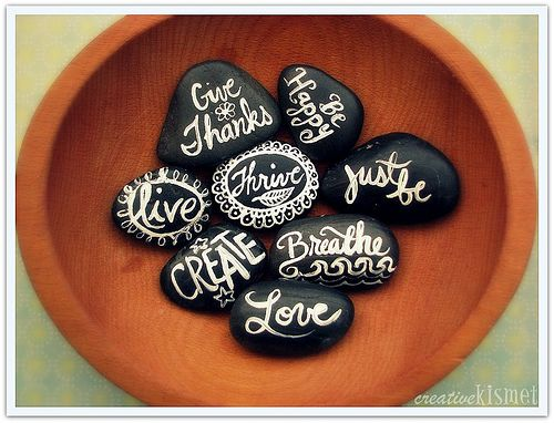 painted rocks with inspired words
