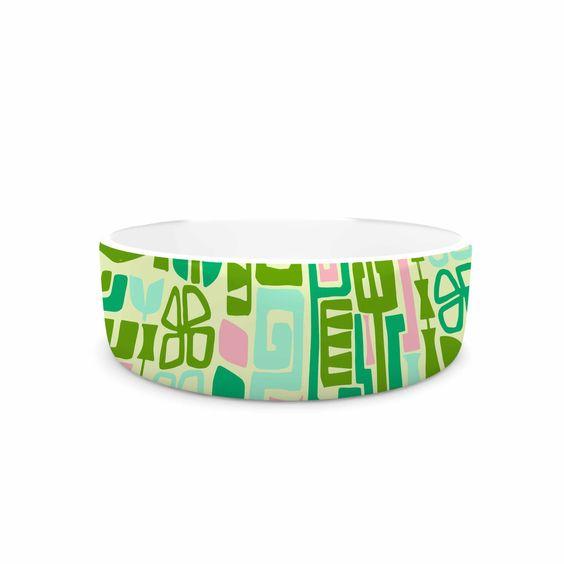 """Amy Reber """"Maze"""" Green Vector Pet Bowl"""
