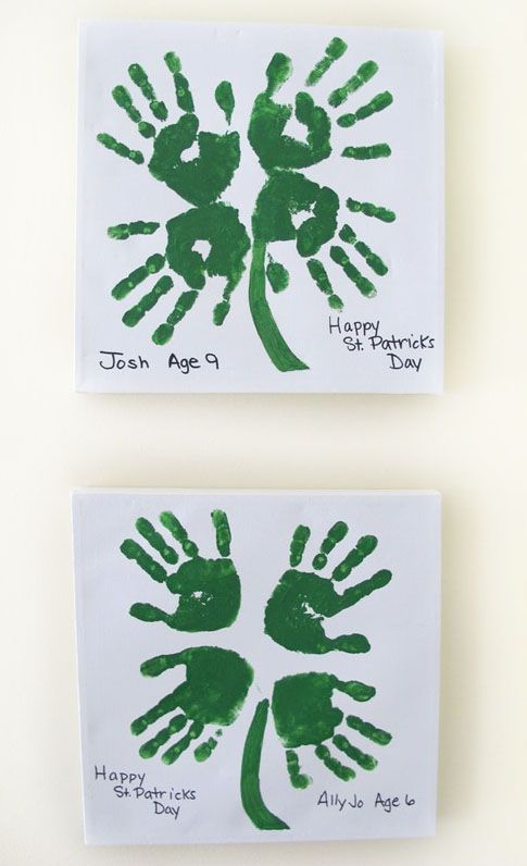 Adorable 4-Leaf Clover Handprint Art from Roundup of 19 Amazing St Patricks Day Crafts for Kids on OneCreativeMommy.com