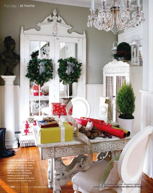 Adorn the door frame with an old headboard.... gotta have high ceilings for this, but still... love!: The Doors, French Doors, Wrapping Station, Double Wreaths, Door Trim, Wreaths Gifts