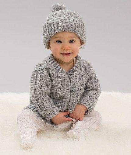 Croatia Knitting Patterns : Aran Stitch Cardigan & Hat Free Crochet Pattern in Red Heart Yarns New,...