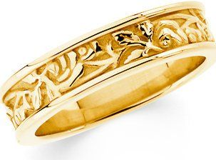 Amazon.com: 5mm Leaf Patterned Wedding Band Solid 14k White or Yellow Gold Ring: Jewelry