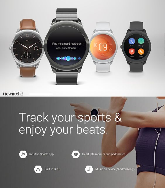 Ticwatch 2 Smartwatch Heart Rate Monitor GPS Wireless Charging Music Liquid Silicone Strap Bluetooth Watch