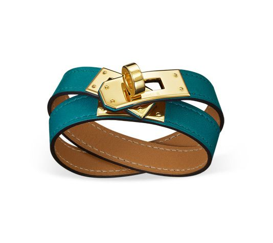 hermes leather goods - Kelly Double Tour Hermes leather bracelet (size XS) Izmir blue ...
