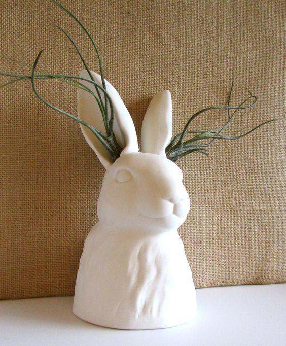 Modern matte porcelain rabbit bunny vase vessel adorned with modern matte porcelain rabbit bunny vase vessel adorned with bulbosa air plants lovely easter gift negle Choice Image