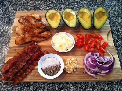 chicken breast, avos, garlic, lime, bacon, red onion, grape tomatoes, mayo or alternative (greek yogurt, tahini, pureed zucchini), s& p