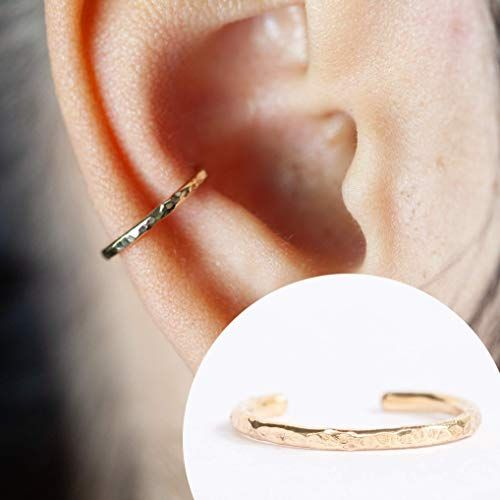 Amazon Com 16 Gauge Ear Cuff For Pierced Or Non Pierced Ear Conch Piercing Hammered Design 14k Gold Filled 16g 10 In 2020 Ear Cuff Gold Ear Cuff Handmade Ear Cuff