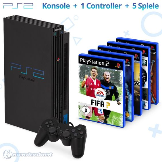 Konsole #schwarz + 5 Spiele
