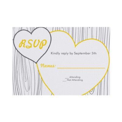 Wood Grain Wedding RSVP cards - Yellow and Grey Custom Invite