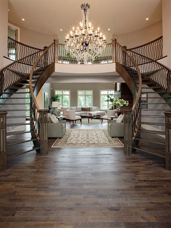 They Took This Right Out If My Dream House Twin Staircases In The Front Foyer See My New Home Design Checklist Staircase Design Home Building Design Home