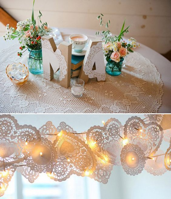 Decoraci n sencilla para bodas con blondas de papel for Decoracion con papel