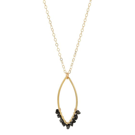 Blair Necklace from Hope Anchored Designs.  Gold-filled charm featuring raw black diamonds.