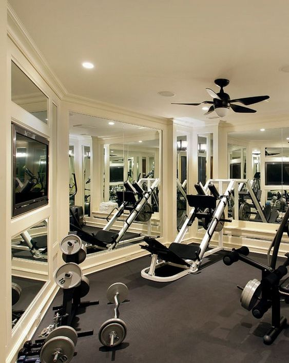 200 Sq Ft Mirrored Home Gym W Built In Tv And Rubber Floor Spaces Fitness Pinterest