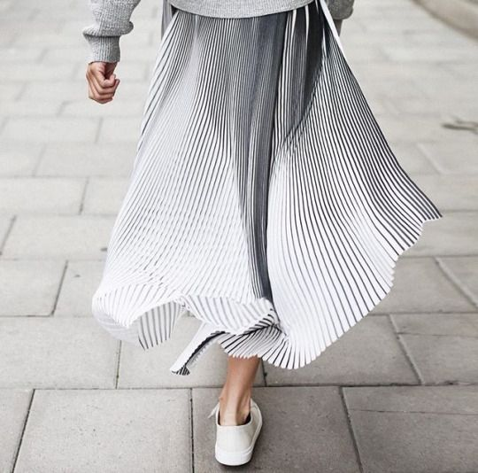 black, white grey, pleated skirt, street style: