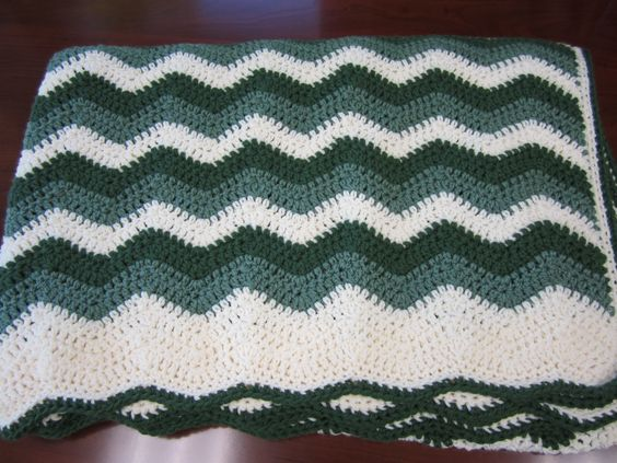 Green and white ripple #crochet afghan