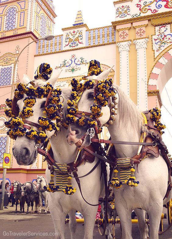 Horses with special decorations stand at the main gate of Seville's April Fair. #Spain /// Caballos frente a la Portada de la Feria de Abril, preparados con sus decoraciones especiales. Sevilla, España