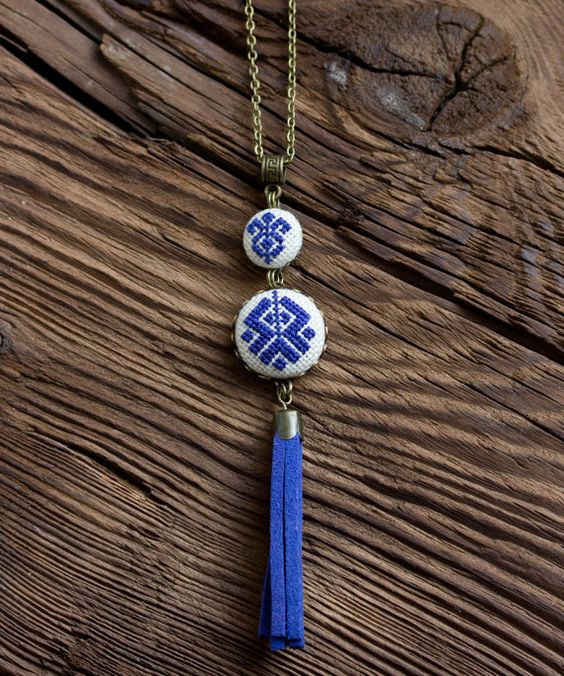 Cross stitch Ethnic necklace Ethnic embroidery dark by skrynka