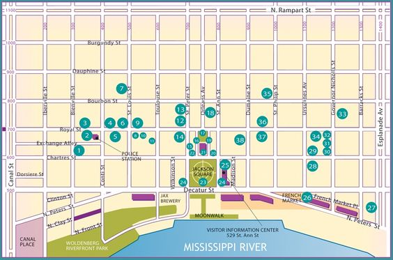 Self Guided French Quarter Walking Map