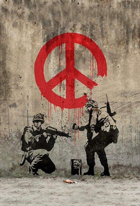'Soldiers Secretly Want Peace', Banksy, street art.: