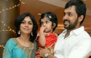Latest pic of Actor #Karthi With his wife Ranjini ...  Actor Karthi Daughter Umayaal Photos