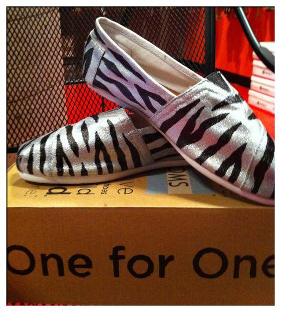 Zebra metallic Custom toms by CustomTOMSbyJC on Etsy, $100.00
