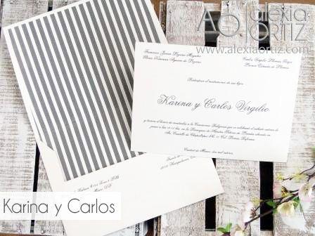 clsicas con sobre impreso en rayas de boda wedding invitations