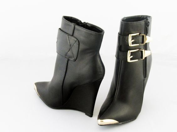 New arrival black wedge #booties loaded with sophistication affordable price under $40. #shoes #wedges #style #footwear #trend #fall #falltrends #accessories