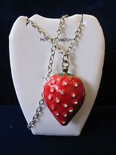 Vivani Women's Strawberry Rhinestone Analog Mother of Pearl Watch Necklace R146