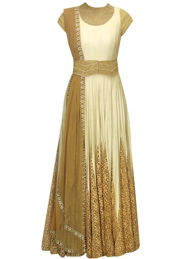 Off-white embroidered anarkali with mustard dupatta available only at Pernia's Pop-up Shop.