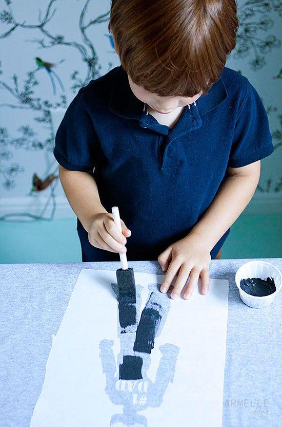 armel blog. DIY: father's day freezer paper stencil t-shirts