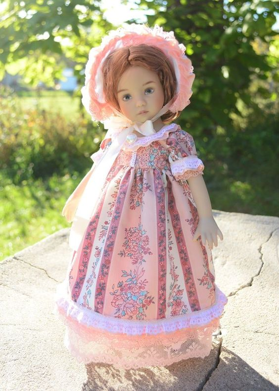 """""""Little Miss Rose""""Regency Dress,Outfit,Gown for 13""""Effner Little Darling-Lumi"""