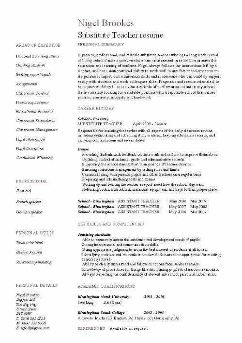 23 Substitute Teacher Job Description Resume In 2020 Teacher